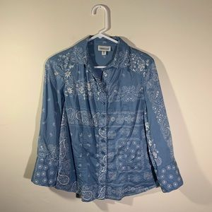 COLDWATER CREEK Paisley Button Down Top